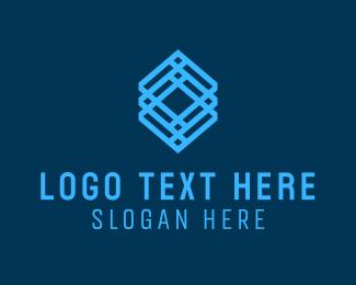 Woven - Blue Geometric Cube logo design