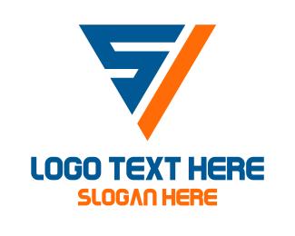 Triangular - Triangular S & V logo design