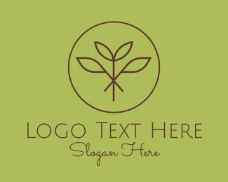Natural Product - Botanical Plant Monoline Black logo design