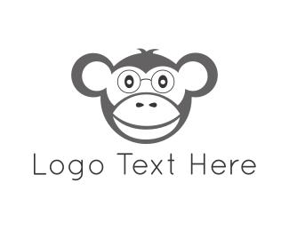 White And Gray - Nerd Monkey logo design