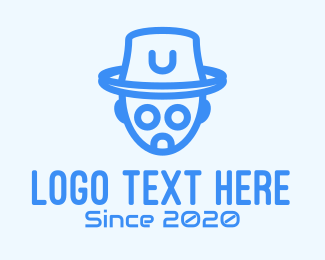 Toy Robot - Blue Robot Hat Tech logo design