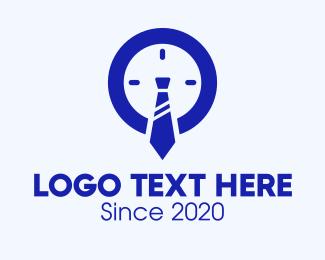 Necktie - Blue Working Hours Clock logo design