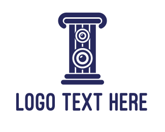 Blue Speaker - Blue Stereo Pillar  logo design