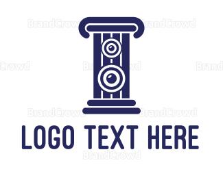 Stereo - Blue Stereo Pillar  logo design