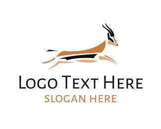 Antelope - Jumping Gazelle logo design