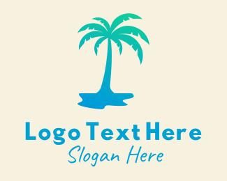 Summer Vacation - Tropical Palm Tree logo design