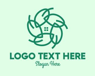 Enviroment - Green Home Gardening Leaves logo design