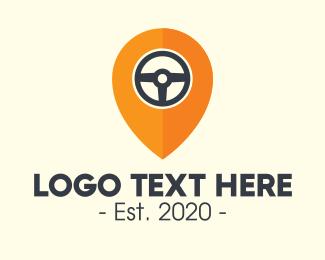 Driving - Car Driving Location Pin logo design
