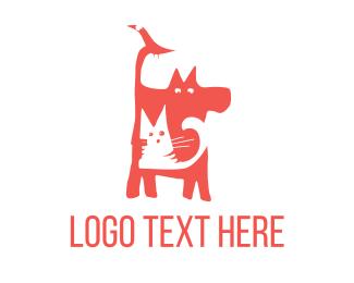 Pet Store - Bird Cat Dog logo design