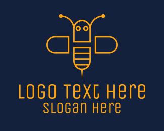 Bee Farm - Orange Monoline Bee  logo design