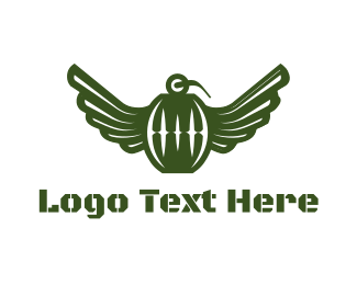Explosive - Flying Grenade logo design