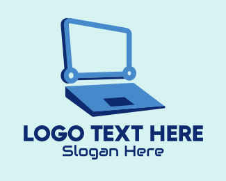 Digital Security - Modern Blue Laptop logo design