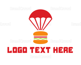 Food Truck - Burger Parachute logo design