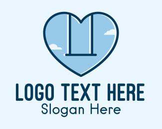 Childhood - Blue Heart Swing  logo design