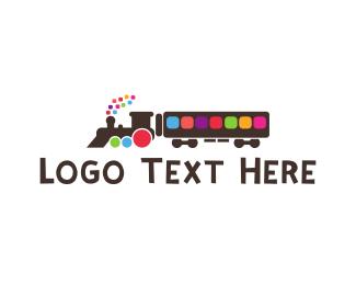 Transport - Colorful Train logo design