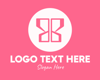 Simple - Pink Butterfly Wings logo design