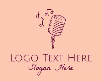 Microphone - Retro Singing Microphone logo design