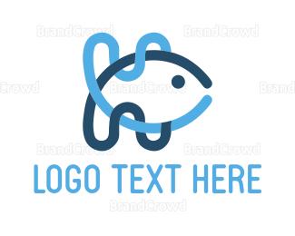 Aquarium - Wave Fish logo design