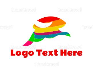 Jump - Colorful Rabbit logo design