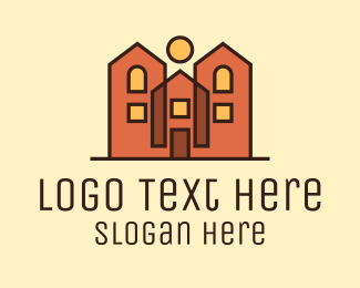 Tenement - Geometric Town House  logo design