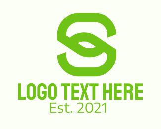 Green Leaf Letter S Logo