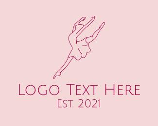 Dancing - Ballerina Dancer Line Art logo design
