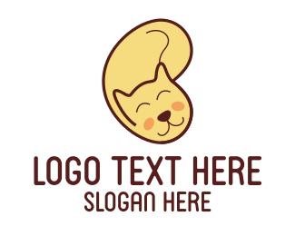 Yellow Cat Cartoon Logo