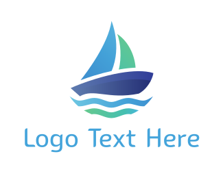 Sailing Boat - Blue Boat logo design