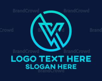 Technician - Slash V Circle logo design