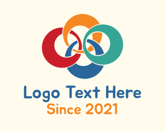 Volunteer - Colorful Laced Rings  logo design