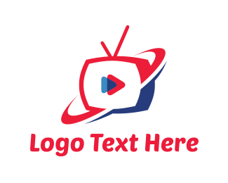 Screen - Red & Blue Play TV logo design