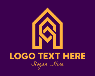 Pointed - Geometric Yellow Letter A logo design