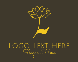 Elite - Gold Lotus Flower logo design