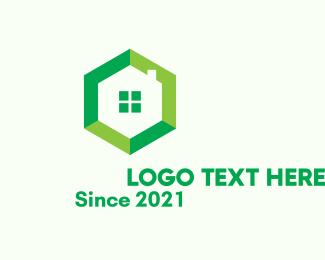 Hexagonal - Green Hexagon Home logo design