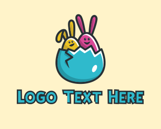 Blue Rabbit - Easter Egg Rabbits  logo design