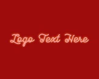 Glowing - Glowing Red Retro Text logo design