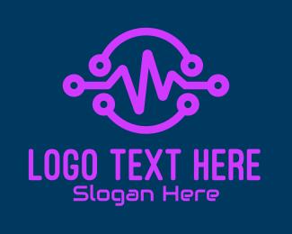 Digital - Digital Purple Flatline logo design