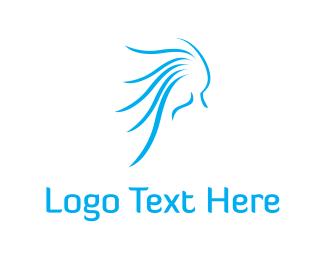 Wind - Blue Hair logo design