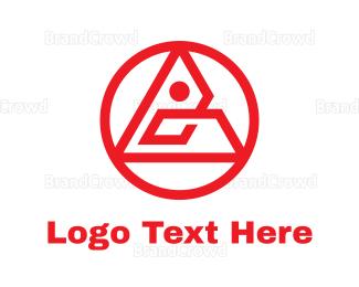 Triangle - Circular Red Triangle  logo design