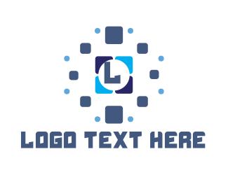 Pixelation - Blue Tile Pixel Lettermark logo design