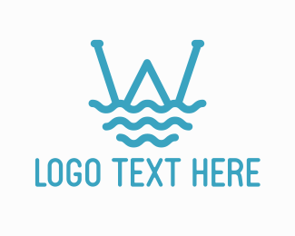 Lifeguard - Ocean Wave Letter W logo design