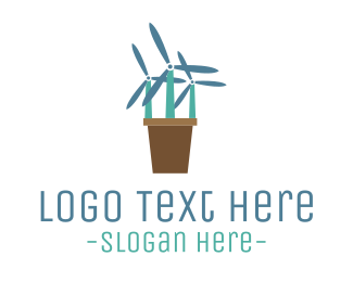 Mill - Windmill Flowers logo design