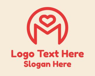 M - Monoline Heart Letter M logo design