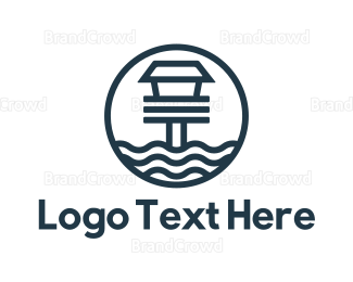 Pool - Blue Beach House logo design