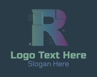 R - Modern Glitch Letter R logo design