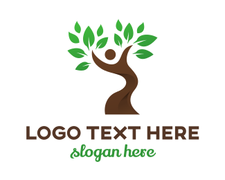 Life - Dancing Tree Person logo design