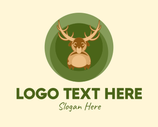 Stag - Cute Reindeer Circle  logo design