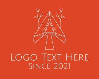 Fire - Campfire Forest Tent logo design