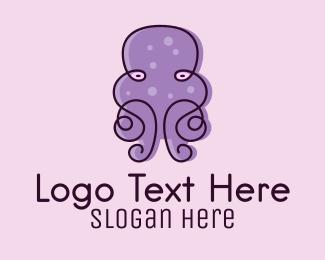 Food - Purple Scribble Octopus  logo design