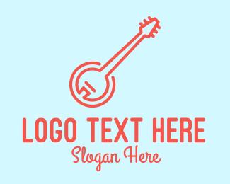 Banjo Player - Minimalist Red Banjo logo design